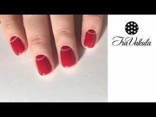 Half Moon red manicure Nail Art - Дизайн ногтей: Лунный маникюр