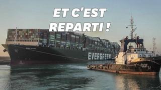 Canal de Suez: l'Ever Given a été remis à flot, le trafic reprend