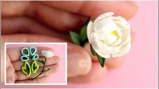 Цветок Пион из полимерной глины🌿Инструкция к каттерам💚Polymer сlay Peony 🌿Instructions for cutters💚
