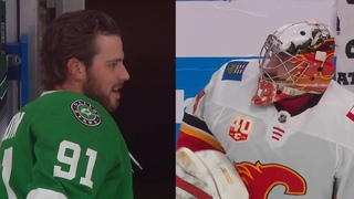 Seguin, Rittich have stare down to see who leaves ice last DALvsCGY