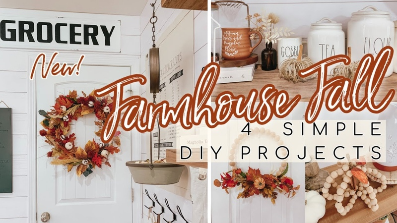4 FALL DIY PROJECTS | FALL FARMHOUSE DIY IDEAS | WOOD BEAD WREATH TUTORIAL MORE!