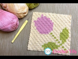 How to Crochet the C2C cup coaster with tulip.