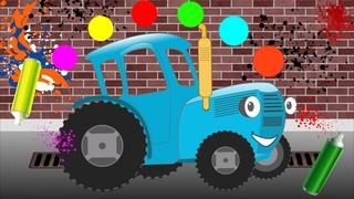 Машинки — учим цвета на транспорте. Развивающий мультик — раскраска про поезд, самолет и трактор.