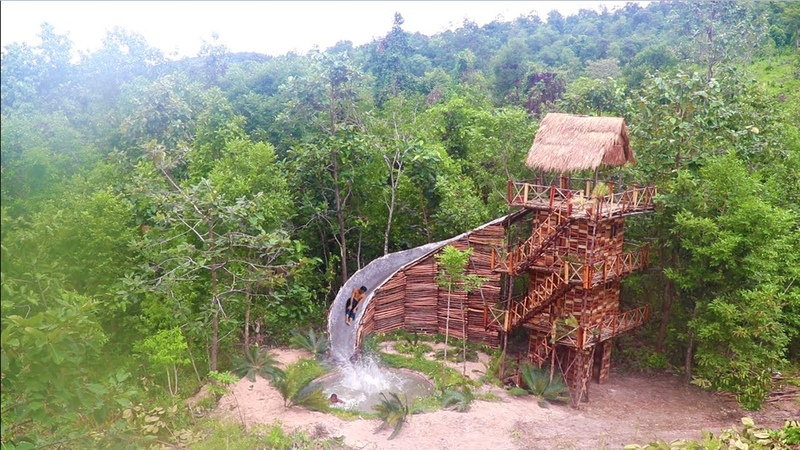 Build Four Story Wood Brick Villa House Swimming Pool With Water Slide By Ancient Skills full