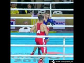 Нокаутирующий встречный левый боковой от монгольского левши. 52 кг. Международный турнир в Таиланде.