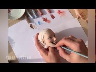 Роспись лица авторской куклы Faceup doll tutorial, Face Makeup doll