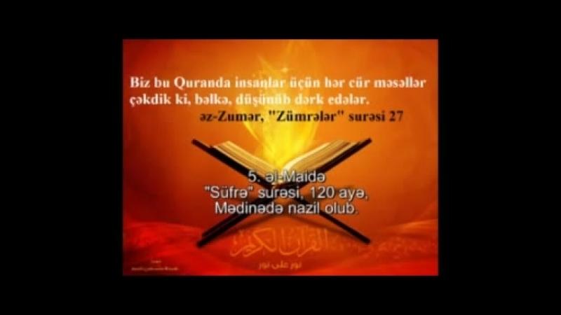 Qurani Kerim 5 əl Maidə Süfrə surəsi azəricə ərəbcə sə