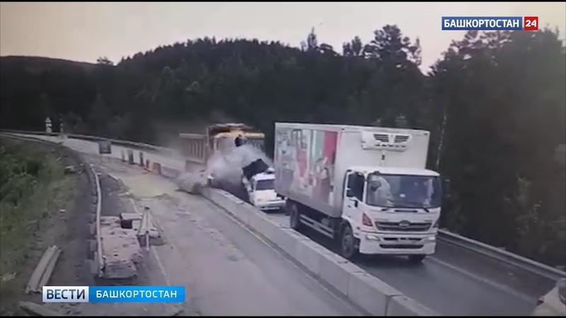 Появилось видео момента страшного ДТП на М 5 в котором грузовик смял пять машин