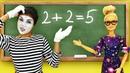 Видео про игры в куклы. Барби и Кен на уроке в школе с клоуном! Игрушки для девочек