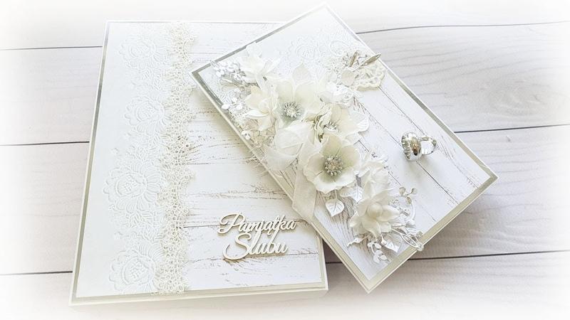 Ślubnie w bieli i srebrze Wedding card TUTORIAL