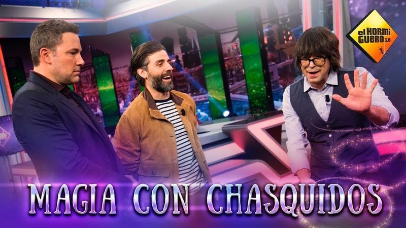 Ben Affleck y Oscar Isaac sorprendidos con la magia de Luis Piedrahita El Hormiguero