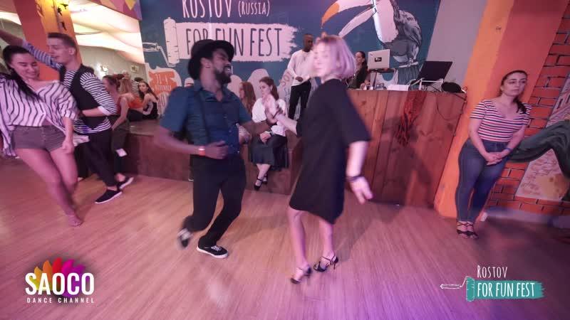 Mambo Brown and Anastasia Larionova Salsa Dancing at Rostov For Fun Fest Russia Friday 01 10 2019