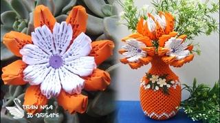 3d origami flower v13 tutorial, home decoration idea | como hacer una flor de origami 3d