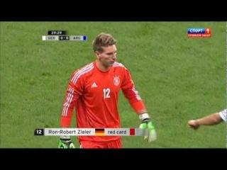 Марк-Андре тер Штеген отбивает пенальти Месси в товарищеском матче сборных Германии и Аргентины (2012)