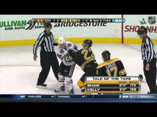 Chris Kelly fights Shaw after cheapshot on Lucic's incredible rush 12/11/14 60fps