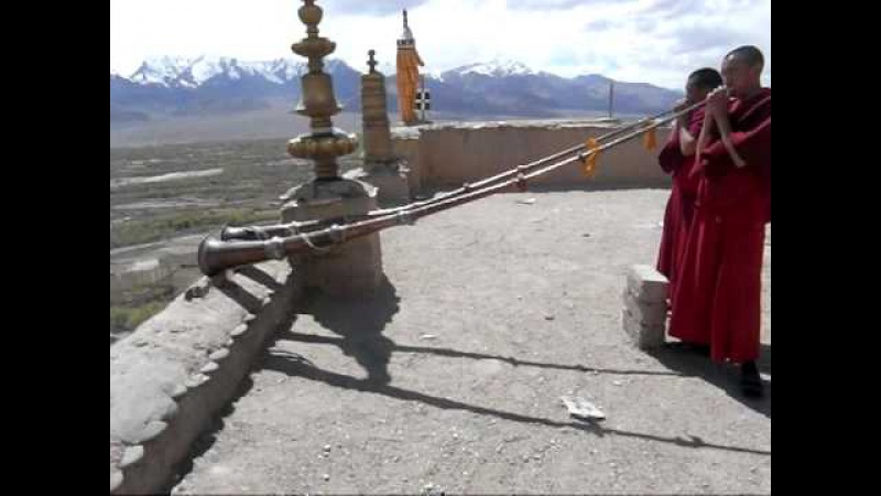 Young monks play Tibetan horn at Tikse gompa