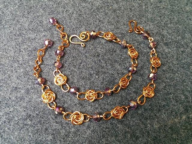 Wire copper rose bracelet jewelry making design 119