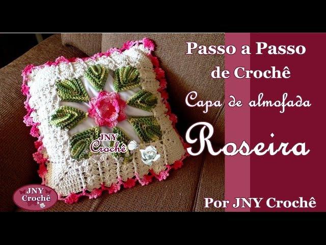Capa de almofada de crochê Roseira por JNY Crochê