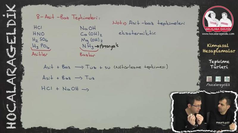 Kimyasal Hesaplamalar - Tepkime Türleri
