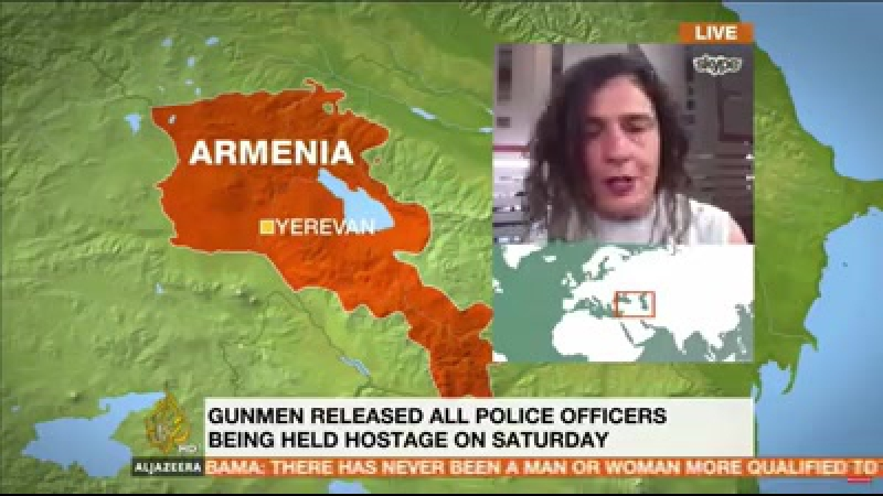 Arsinee Khanjian on Al Jazeera English talking about the recent clashes and riots in Yerevan, Armenia