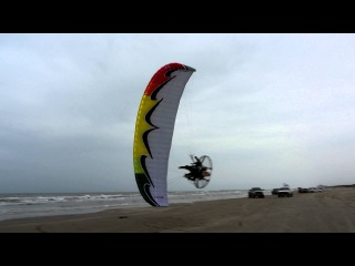 World's Best Paramotor Pilot Dell Schanze Having Fun Powered Paragliding At The Beach In Texas!!