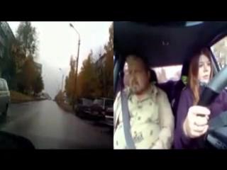 Девушка сдаёт экзамен по вождению, инструктор в шоке