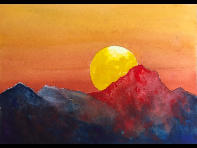 Dramatic Sunset watercolor tutorial an easy step by step painting irmgardart