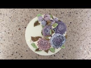 Торт с кремовыми цветами астрами! Cake with buttercream aster flowers