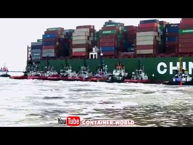16 TUGS REFLOATING the 366m CSCL Jupiter after grounding 14Knots on a SANDBANK! 155.000 TON gross