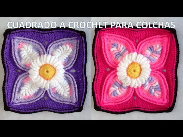 Cuadrado o muestra a crochet para colchas con lanas de colores