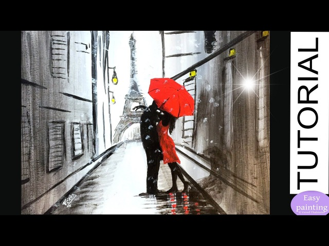 How to paint COUPLE RED UMBRELLA in PARIS. Lovers EIFFEL Tower Painting Tutorial Step by Step