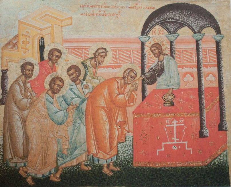 Фрагмент сени. Причащение Апостолов Телом.