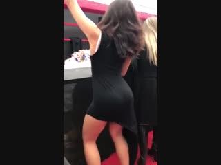 Beautiful girl sexy ass dance in black dress 2018