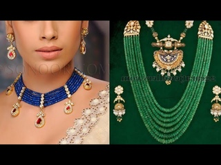 beautiful beaded necklace set design/new Kundan multiple beaded necklace set design