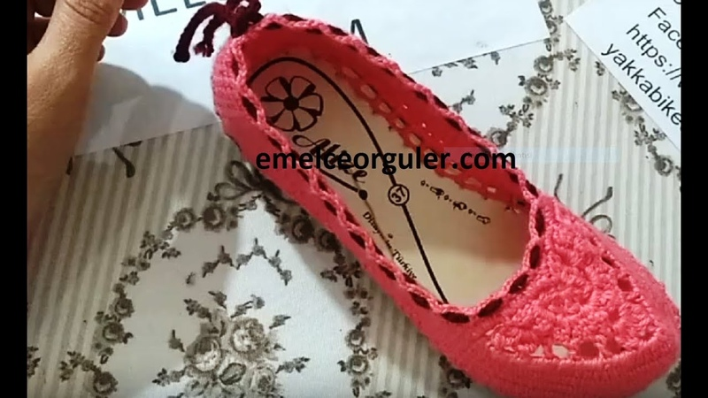 Örgü motifli patik ev ayakkabısı yapımı Modeli