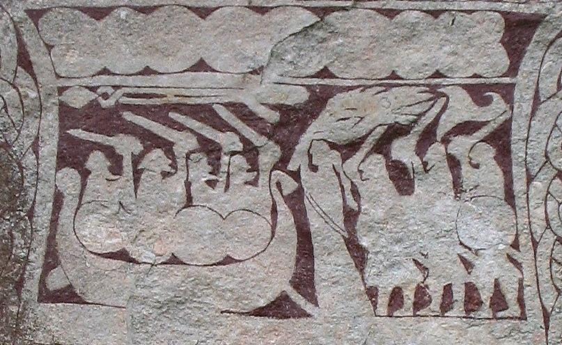 Изображение воинов в драккаре на Стура-хаммарском камне на острове Готланд.