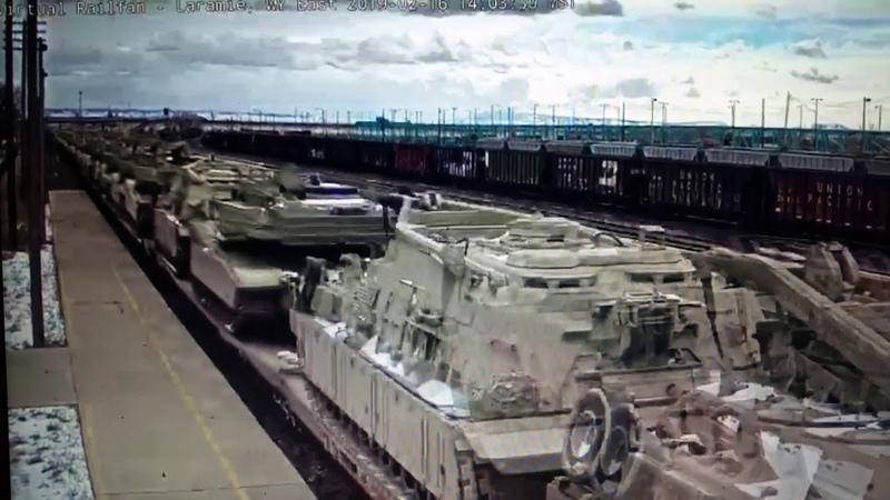 A military train in Laramie,WY