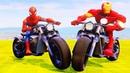 Мультики про Машинки Гонки на Мотоцикле Супергерои Человек-Паук Железный Человек Мультики для Детей