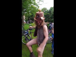 World naked bike ride, manchester uk. dancing naked in public