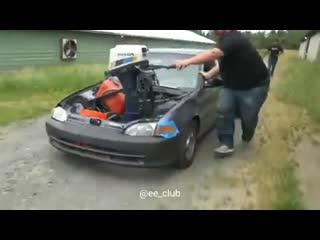 Honda Civic с мотором от ЛОДКИ!