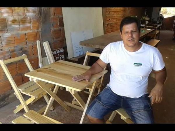 Como fazer Jogo de mesa dobrável para bar em pinus