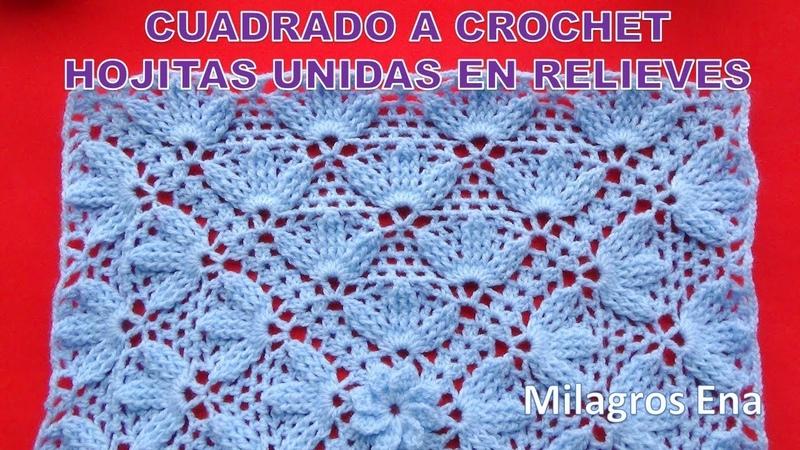 Cuadrado Hojitas Unidas en relieves a crochet para colchas y cojines paso a paso