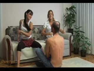 two vicious girl slaps their slave