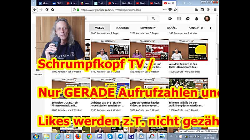 Schrumpfkopf TV / Nur GERADE Aufrufzahlen und Likes werden z.T. nicht gezählt