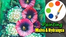 Painting Malva and Hydrangea, acrylic painting