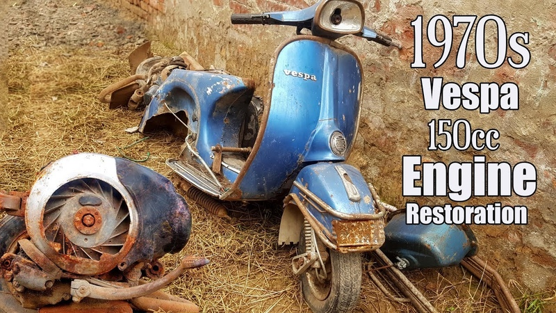 1970s Piaggio 150cc Italian Vespa Engine Full Restoration after 50 years