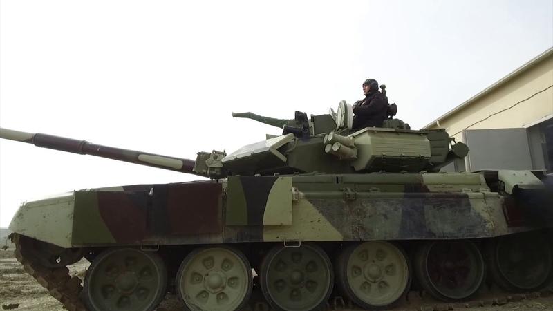 Təlimə cəlb edilmiş tank bölmələri tapşırıqları yerinə yetirirlər - 11.03.2019