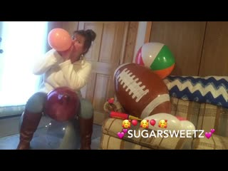 Sugarsweetz sitting on a big beachball and balloon blowing ft. several popping styles