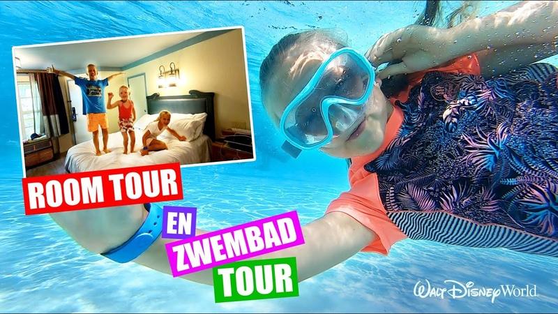 ROOM TOUR en ZWEMBAD TOUR in ons DISNEY HOTEL Stuntshow En Achtbaan VLOG 4 ♥DeZoeteZusjes♥