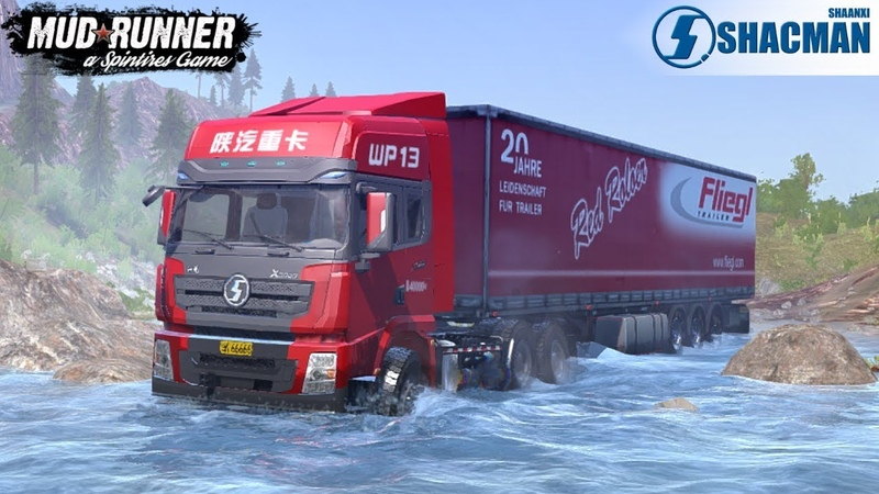 Spintires: MudRunner - SHAANXI AUTO X3000 TRACTION Through Mountain Rivers and Mountain Roads
